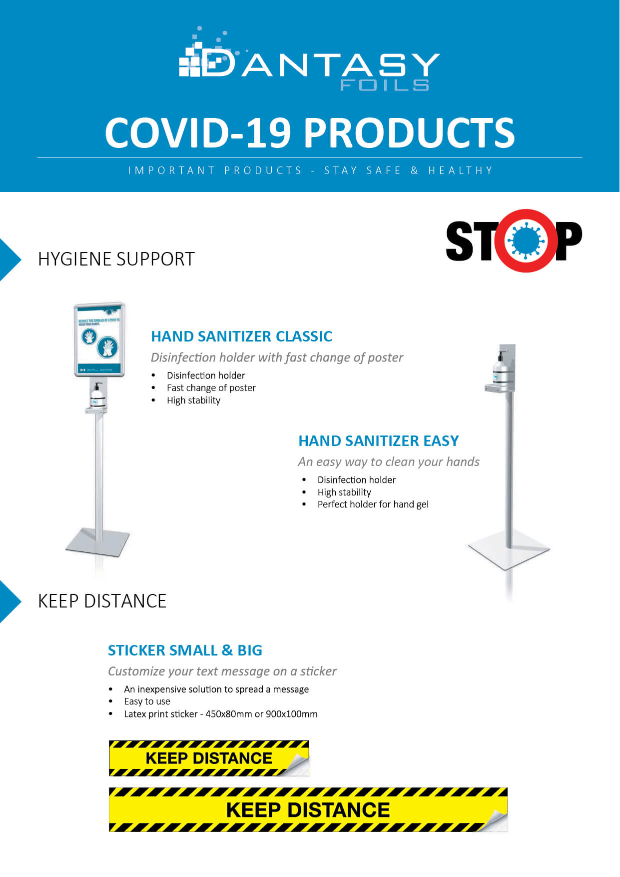 Corona proof hygiene products for workplaces